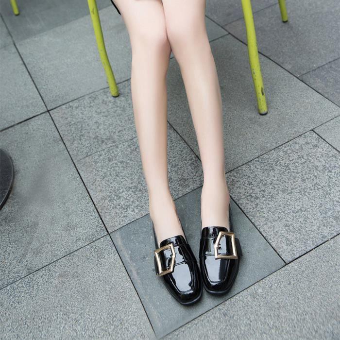 DERBY Femmes's Vintage Buckle Patent Leather Shoes Femal