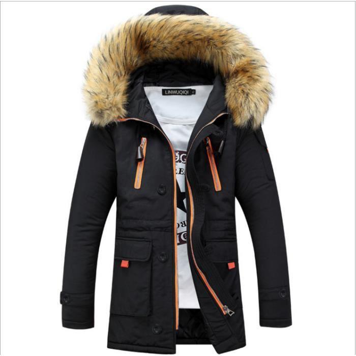 Couple Hommes Femmes d'hiver Parka longue fourrure capuche Col Veste en coton 3 couleurs plus la taille S 4xl