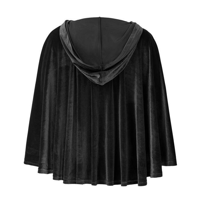Courte Élégant Capuche Gothique Victorien Velours Noir Cape Avec En S m Witchy 8dSaxq