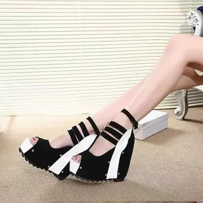 Chaussures Femmes forme 7052 Heeled Compensées Inclinã Patchwork Sandales Épais xiezi Blanc À Fond Plate High 68wzqPxH6r