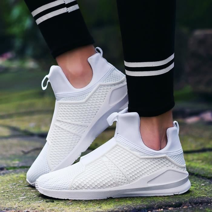 Respirables Mesh Sport Chaussures Casual Mode Hommes Slip-On Chaussures pour hommes,blanc,44