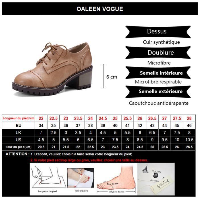 Oaleen Chaussures de ville femme rétro à lacets derbies talon moyen bloc plateforme noire 41 aYwckxm5Y