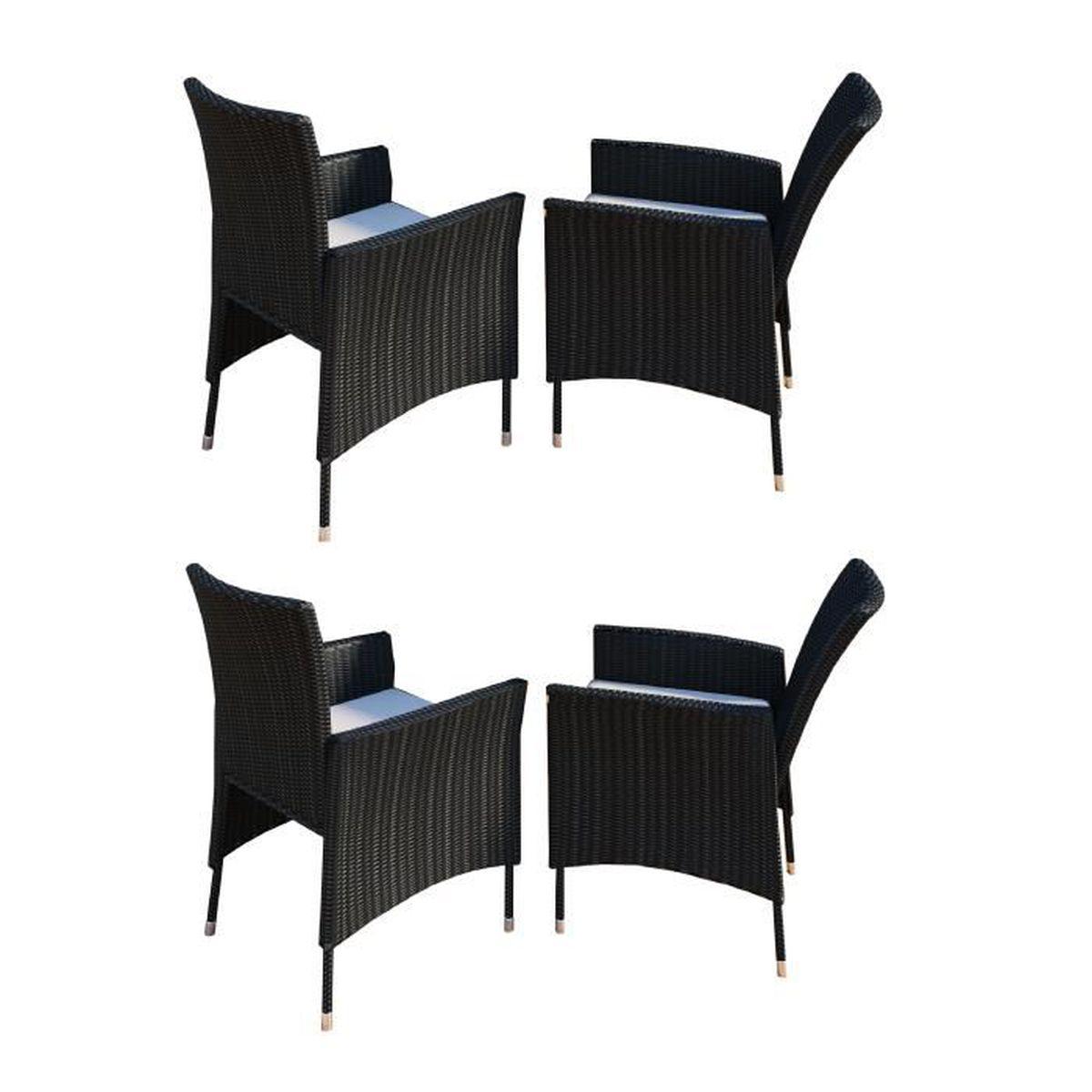 4x Chaise de jardin Rotin avec coussin Noir - Achat / Vente fauteuil ...