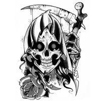 tatouage temporaire tete de mort la faucheuse achat vente tatoo bijou de corps tatouage. Black Bedroom Furniture Sets. Home Design Ideas