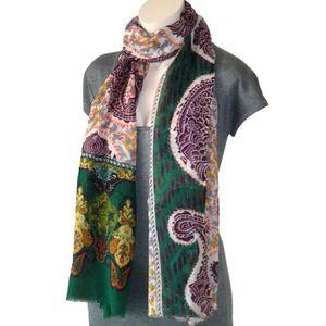 Echarpe Etole Châle 100% Laine Motifs Floraux (E0259) Vert - Achat ... b0449562fa5