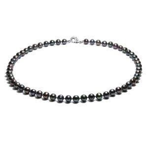SAUTOIR ET COLLIER Collier Perles de culture 41 cm Noir et Argent 925
