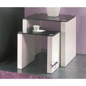 gueridon avec plateau verre achat vente gueridon avec plateau verre pas cher cdiscount. Black Bedroom Furniture Sets. Home Design Ideas