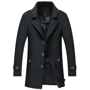 31f05534f5222 Imperméable - Trench Trench Coat Homme Slim fit Casual Veste Mi-longue