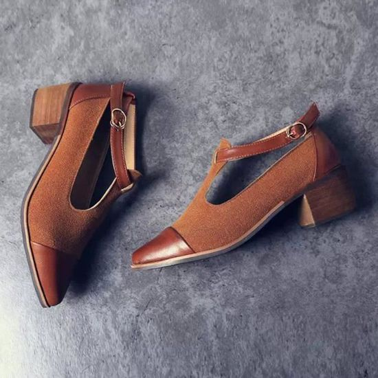 Femmes Vintage Patchwork bout pointu Cut talon Patchwork Vintage boucle talons hauts chaussures compensées@Noir Browm  Noir browm - Achat / Vente escarpin 7c3e21