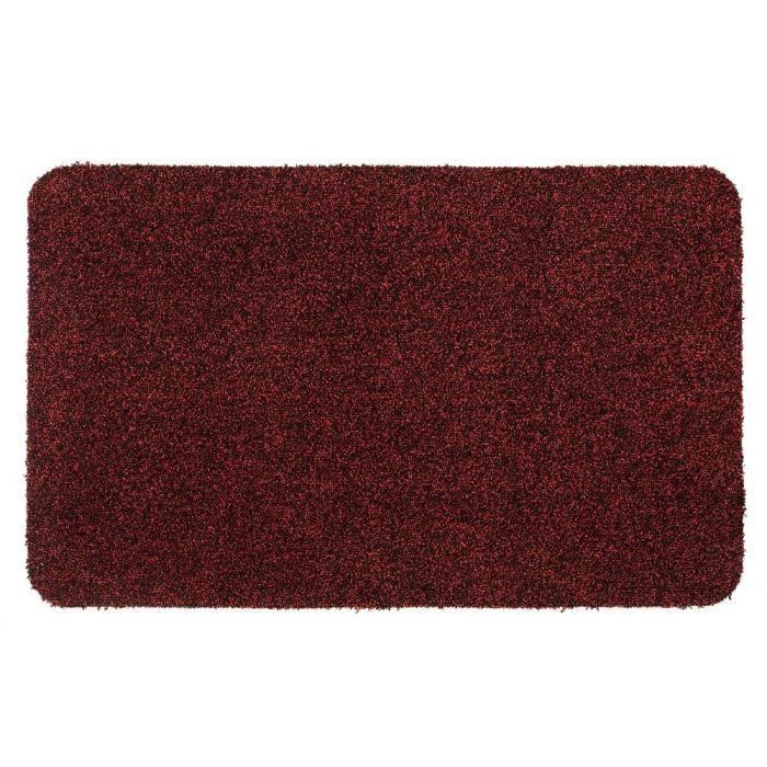 Couleur rouge mouchetée de noir - Lavable 30° - 100% polyester - 50x80 cm - Usage intérieurTAPIS D'ENTREE - TAPIS DE SEUIL