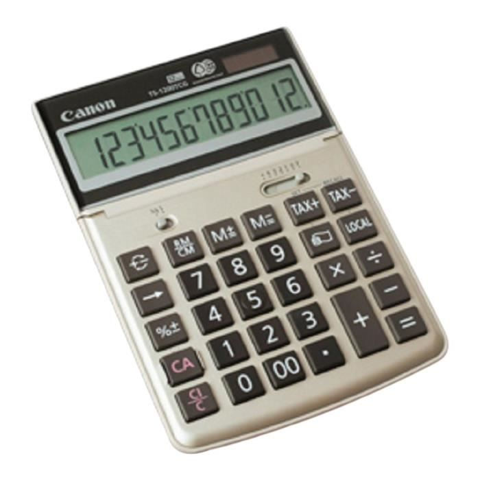 CANON Calculatrice de bureau TS-1200TCG - 12 chiffres - Panneau solaire, pile - Champagne