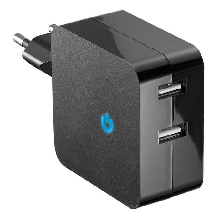 D2 Chargeur secteur USB 2 ports - Avec indicateur de charge - Noir