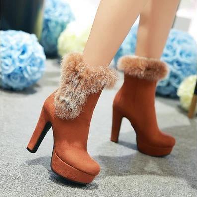 Cuir mat bottes à talons hauts boîte de nuit sexy hiver bottes chaud lapin de fourrure chaussures bottes, jaune 37