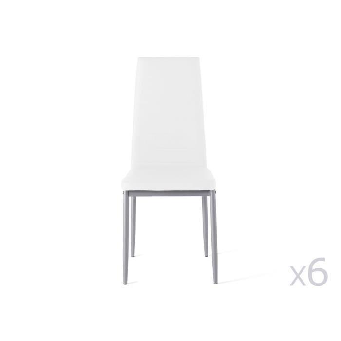 CHAISE Chaise en tissu PVC avec pied métal - Lot de 6 ENO