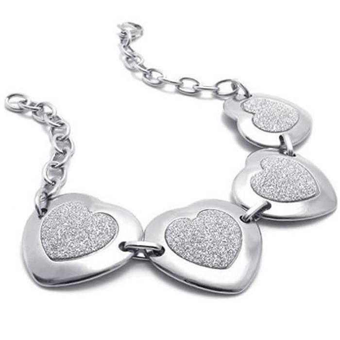Bijoux Bracelet Femme Coeur Shamballa Charms Fantaisie Acier Inoxydable Pour Femme Chaîne De Main Couleur Argent Ave