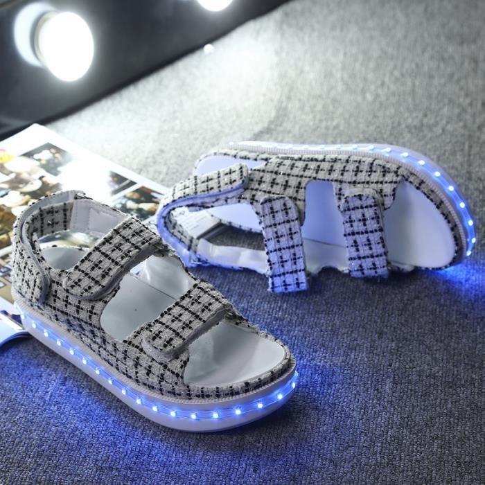 Kianii® Sandales Femme Lumineuse Chaussure Led 7 Multicolore Usb Rechargeable Légères Jusqu'à Glow 2016