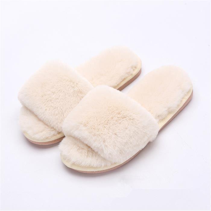 info pour économies fantastiques hot-vente authentique chaussons hiver femmes Exposé orteils chausson femme marque pantoufles  fourrées pour l'hiver pantoufle femme chaud peluche