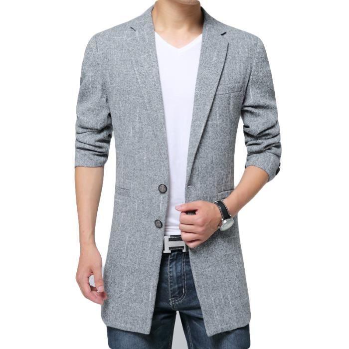 6e0e02ca302e5 Marque gris Vêtement Clair Parka Slim Hiver Revers Longue gris Homme  Vêtements Masculin Luxe De Noir O44aEq