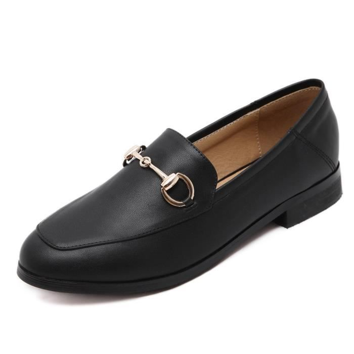 Leather Loafer Comfort Buckle Slip On Shoes S4ETZ Taille-37