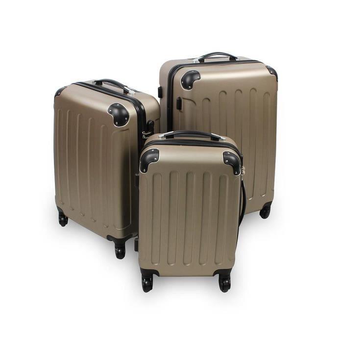 Leogreen - Set de Valises, Lot de Valises à Roulettes, Coins protégés, 51 61 71 cm, Argent, ABS, Matériau: Plastique ABS, Poids: 3 kg (petit) 3,5 kg (moyen) 4,5 kg (large)