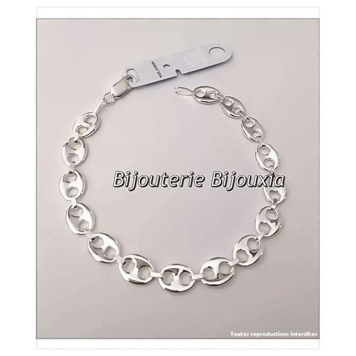 BIJOUXIA: Bracelet Grain de Café FEMME 19CM ARGENT MASSIF 925
