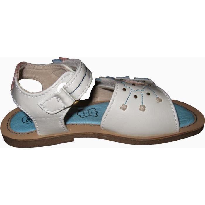 Sandales blanches en cuir