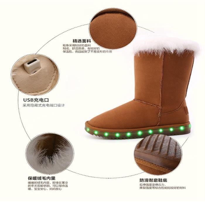 Bottes LEDs Bottes femme Bottes à haute talons Bottes hauteBottes en daim Bottes mode Bottes chaudement Bottes de neige
