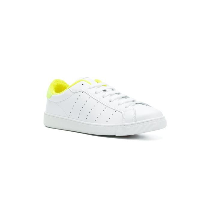 DSQUARED2 FEMME SNW040306500286M1382 BLANC CUIR BASKETS