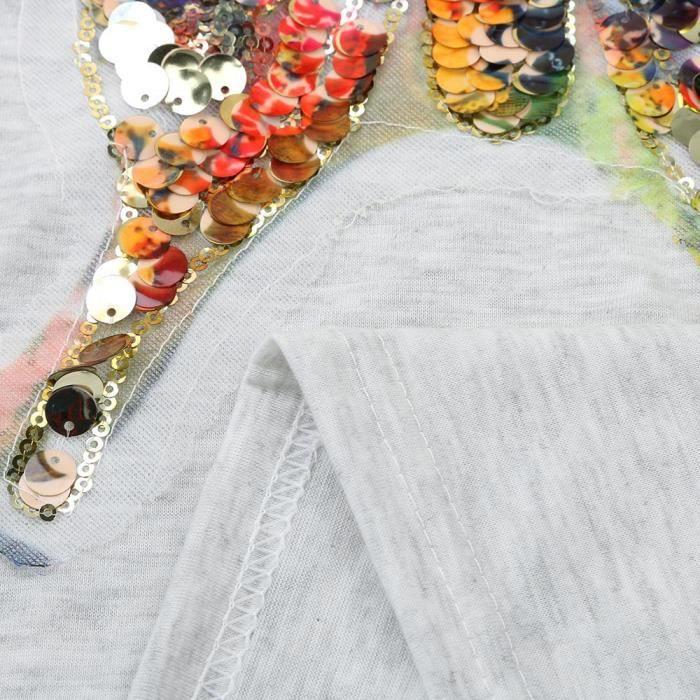 Chemisier Manches Pailleté Les Tee Col gris Papillon Shirt Femmes Décontracté V En Débardeurs PPqaw58Tx