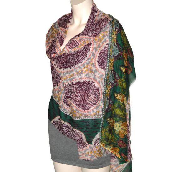 Echarpe Etole Châle 100% Laine Motifs Floraux (E0259) Vert - Achat   Vente  echarpe - foulard 2009560549385 - Soldes  dès le 9 janvier ! Cdiscount a1ee77cf812