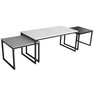 cb1ba88d409361 TABLE GIGOGNE Lot de 3 tables gigognes en MDF coloris noir-blanc