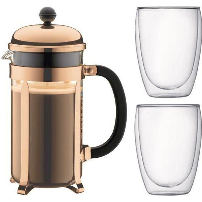 BODUM CHAMBORD Set cafetière à piston - 8 tasses - 1L -Marron - Avec 2 verres double paroi Pavina 0,35l
