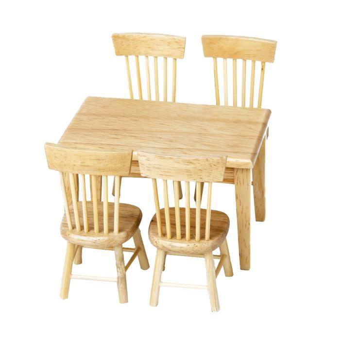 Maison 5pcs Xuoztklwpi Meubles 1h12 Modèle De Mis Chaise Table Salle 76yvIbYgf