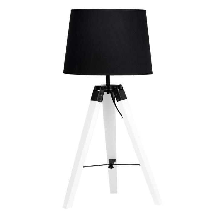 Lampe De Chevet Design En Metal Et Abat Jour En Tissu Noir H 53 Cm