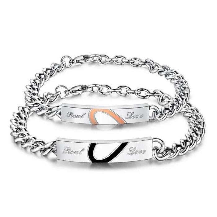 2 Pièce Demi Coeur Puzzle Couple Bracelet Romantique Réel Amour En Acier  Inoxydable Cha?ne \u0026 Lien Bracelets Bijoux De Mode Pour Les
