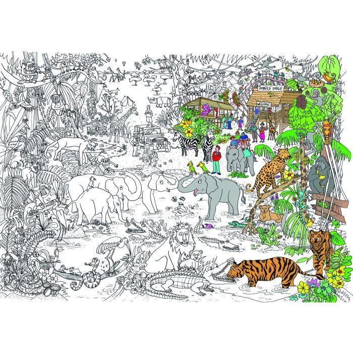 Poster coloriage jungle safari achat vente affiche - Poster coloriage ...