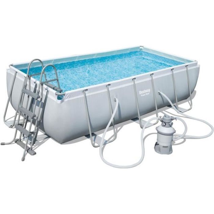 Bestway kit piscine rectangulaire tubulaire l4 04 x l2 01 for Bestway piscine