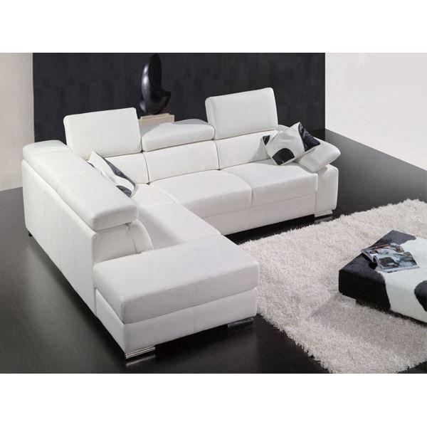 Canape cuir A302 Blanc Achat Vente canapé sofa divan