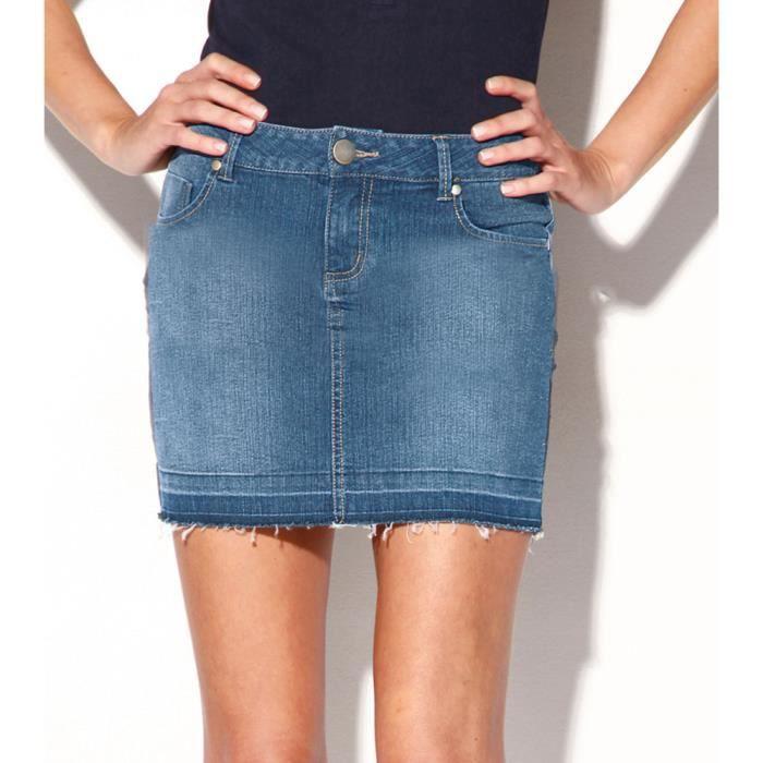 Jupe courte en jean effilochée s... - Achat   Vente jeans Jupe ... d1a8a1ad184b