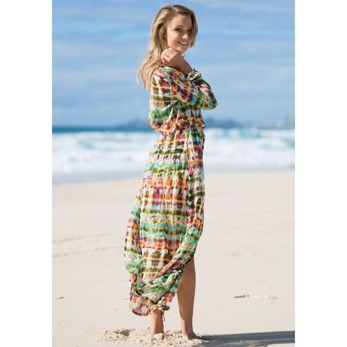 ROBE DE PLAGE Maxi Robe femme longue de plage col V avec manches