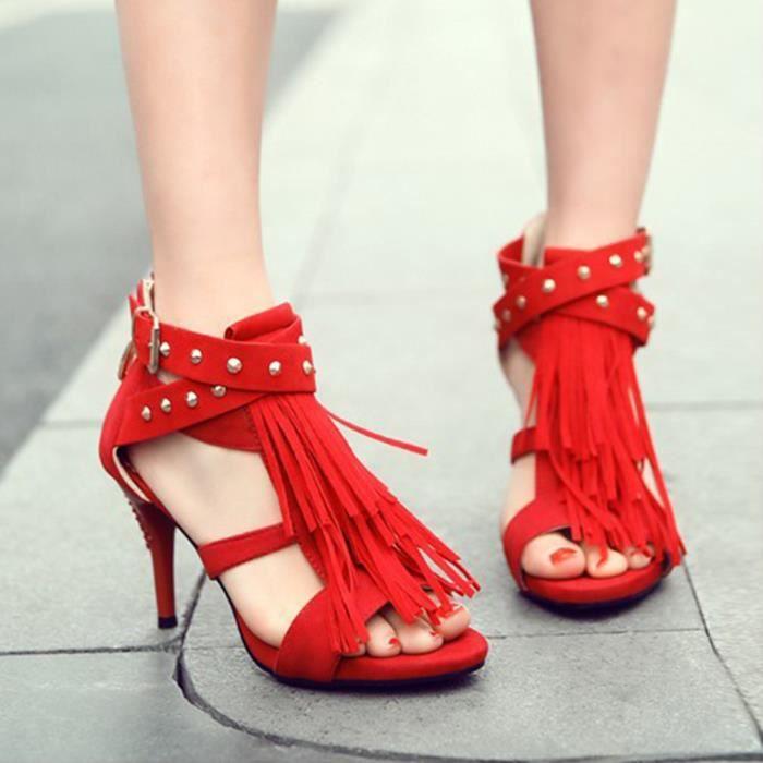À Frange Talons Mat Femme Sandale Rouge Hauts Mode Chaussures zSMqpUVG