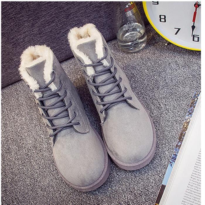 Femmes Automne Hiver Bottes de Neige Cheville Chaudes Fourrure Laçage Chaussures Plates 35-40
