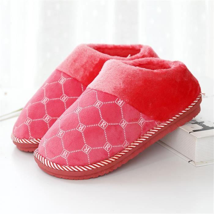 Chaussons Femmes Antidérapant meilleur Hiver Chaussure Léger Nouvelle arrivee Haut qualité Chausson Chaud Rétro Doux Durable 37-41