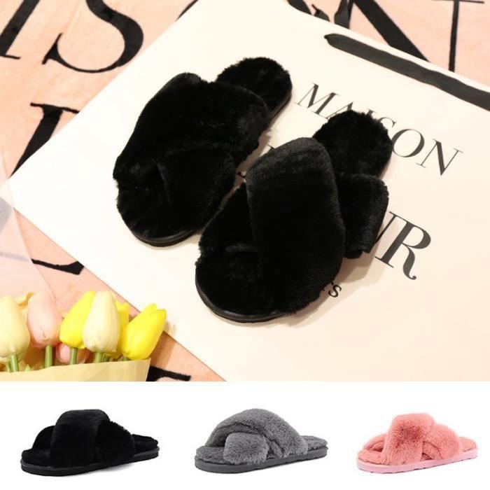 Pantoufles Femme Plates en Fourrure Chaussons Chaussures de Chambre