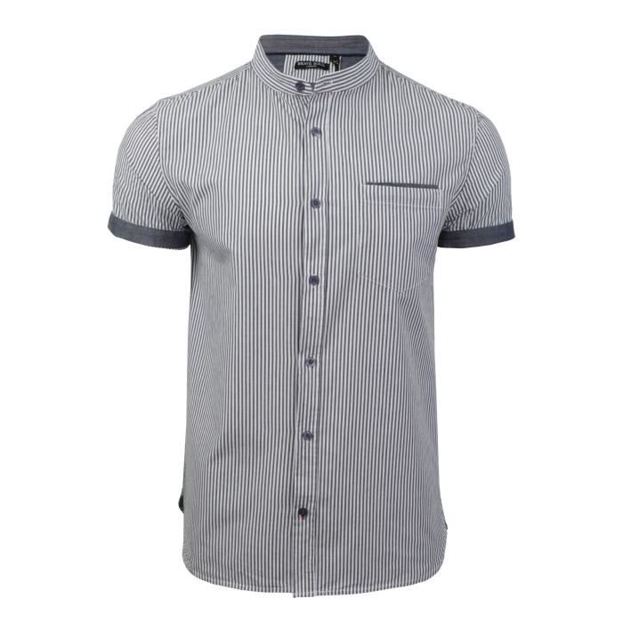 Mao Courtes Rayures Brave Motifs Manches Col Soul Homme Chemise cZ7Z8zTOWY