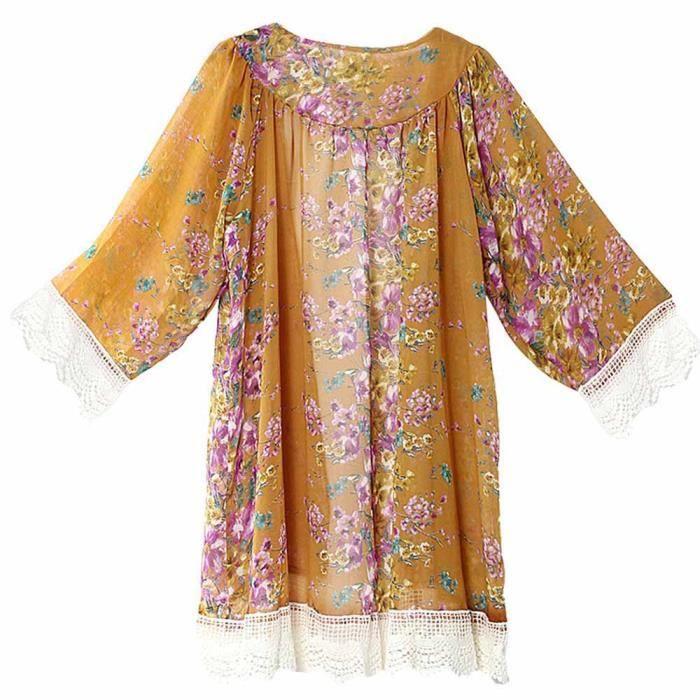 Tops Couvrante L De Xl Jaune Cardigan Kimono Châle Soie Femmes Imprimé M Chemisier Mousseline En S Ozq6Enx8