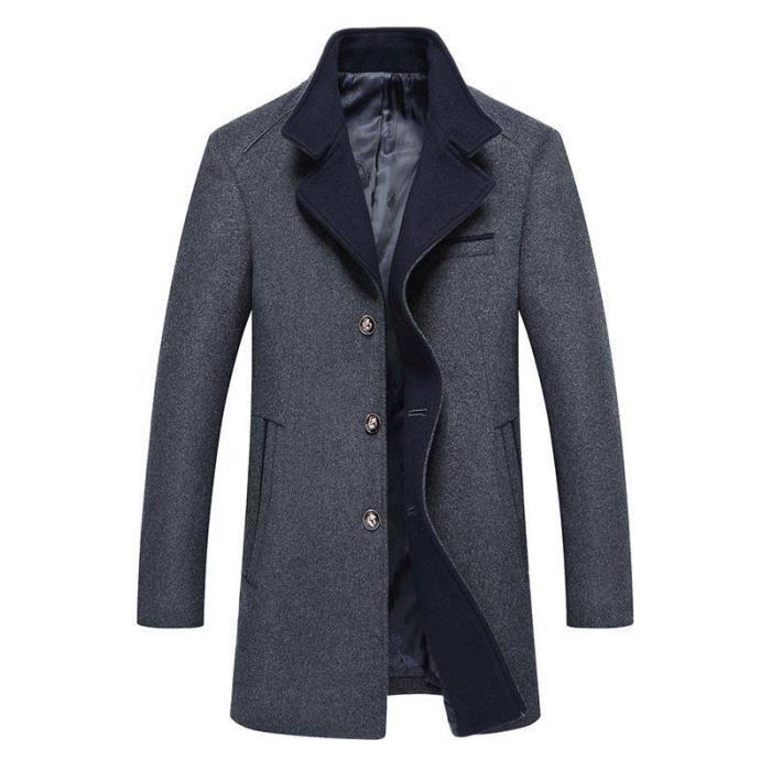 Caban Boutonnage mi Vêtements Laine Homme Simple Automne De Manteau Boutique En longue Veste Mode Hugo Ka4HS4