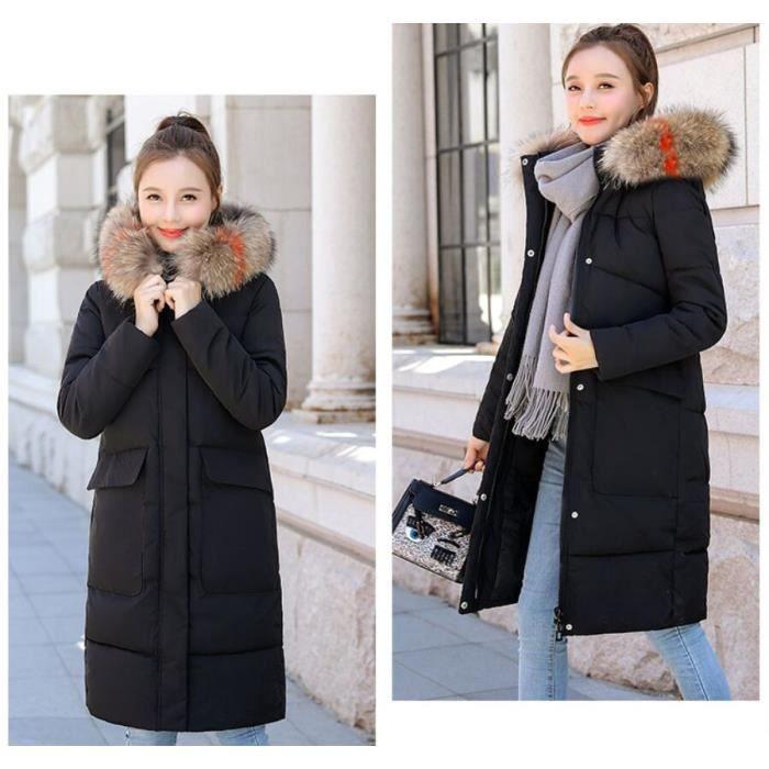 2018 Femme Taille Couleur Nouveau Unie Chaud Mode Grande Manteau Parka de Noir Milieu d'hiver Fourrure Col Épaissir Longue Doudoune TFJ3lK1c