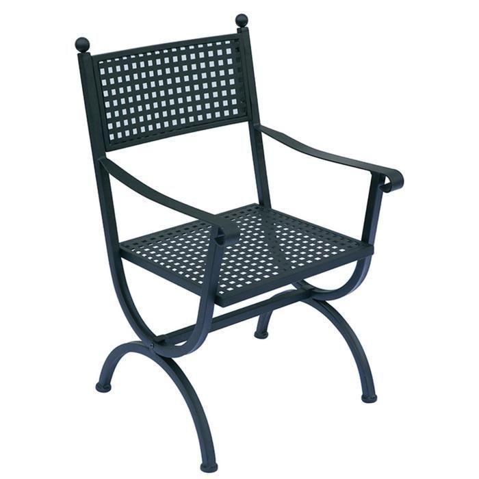 Chaise De Jardin En Fer Forge Noir Avec Accoudoirs Et Coussin Ecru