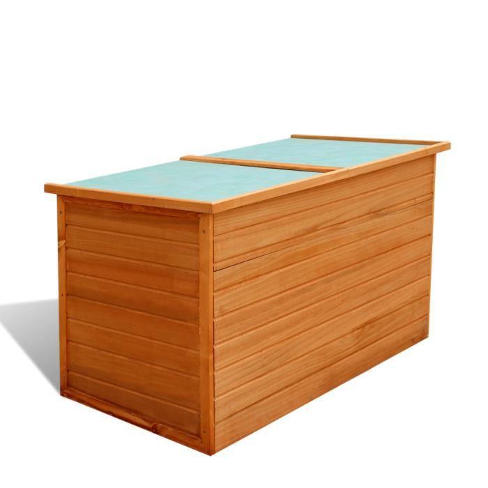 Coffre étanche de jardin patio terrasse Boîte de rangement en bois ...